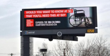 "Advertisement supporting the Globe & Mail's recent ""DNA Dilemma"" series."
